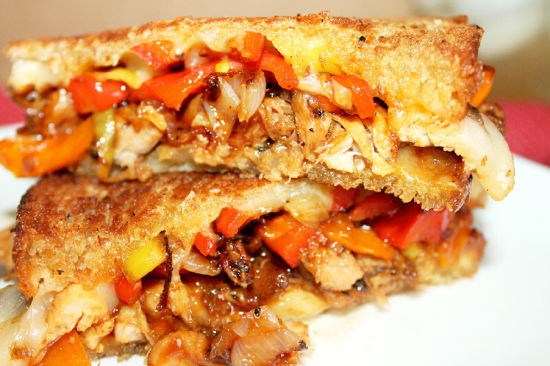 Smoked Chicken Grilled Cheese with Caramelized Shallots and Peppers