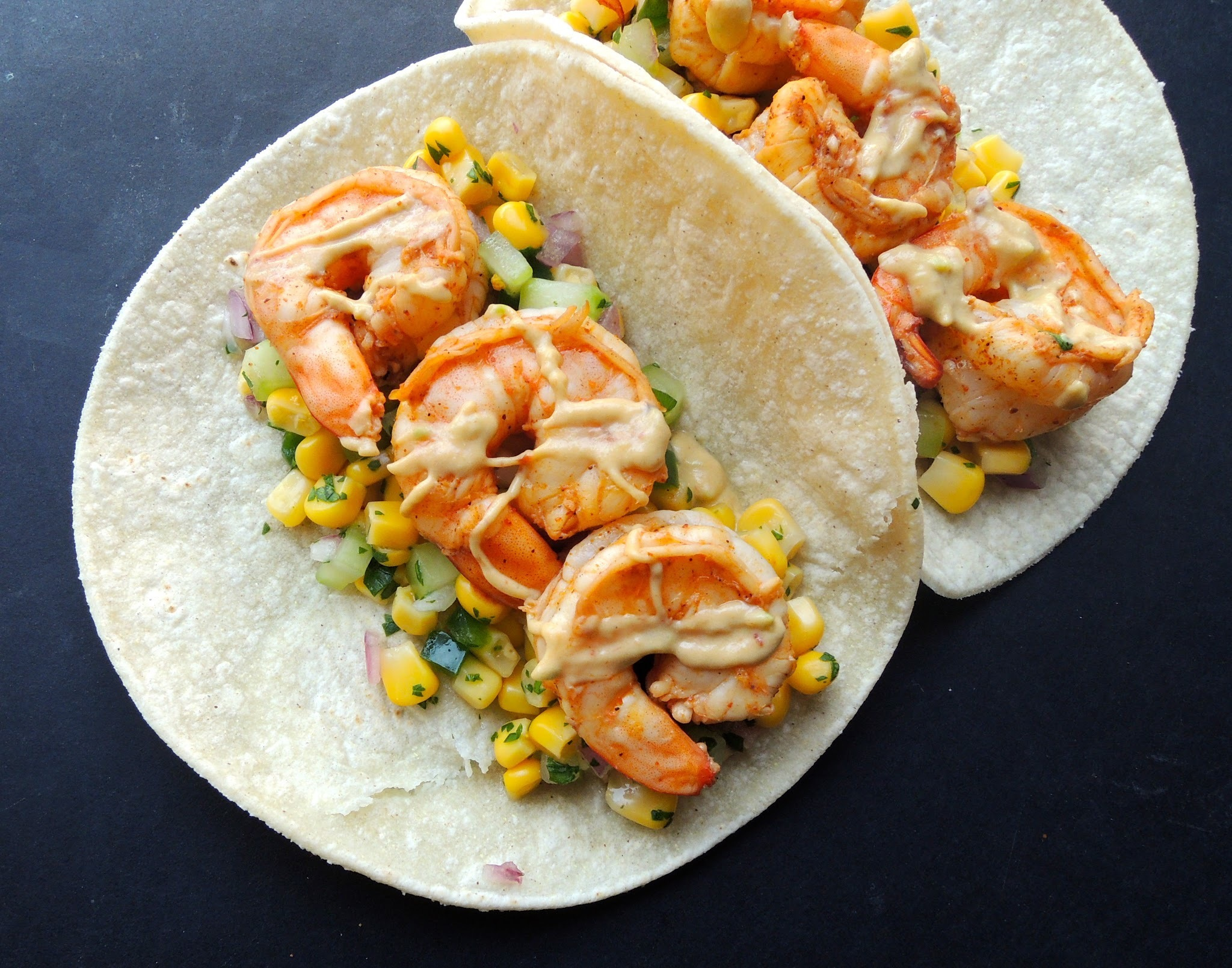 Shrimp Tacos with Corn Salsa and Chipotle-Avocado Crema