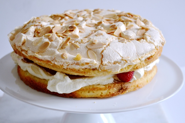 Raspberry and Almond Meringue Cake