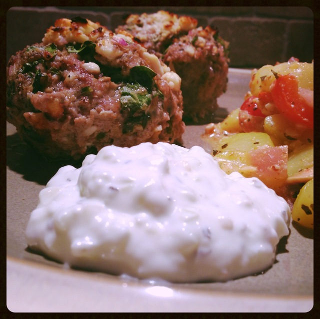 Homemade Tzatziki Sauce (and Lamb Meatloaf Muffin Reboot)