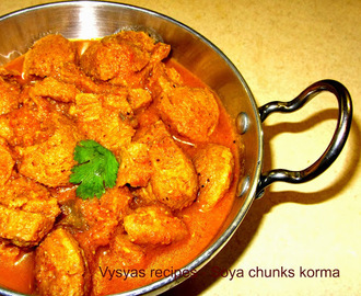 Soya chunks kurma - Soya chunks korma - side dish for Chapathi roti dosa