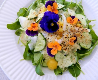Summer Salad with Cucumber Dressing ~ a Raw and Vegan Recipe