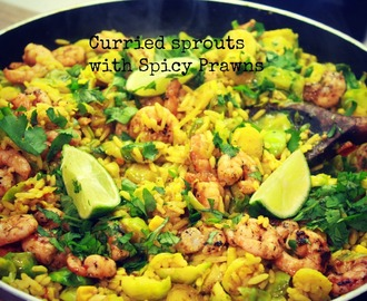Curried sprouts with spicy prawns recipe
