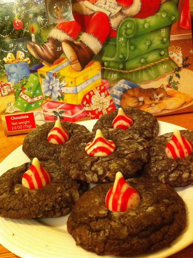 Peppermint Chocolate Cookies with Hershey's Candy Cane Kisses