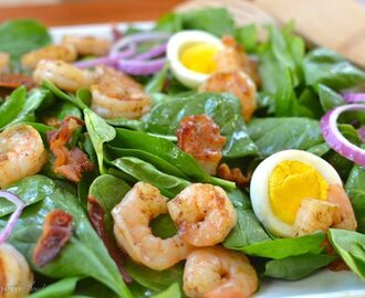 Guest Post: Spinach Salad with Shrimp and Warm Bacon Dressing
