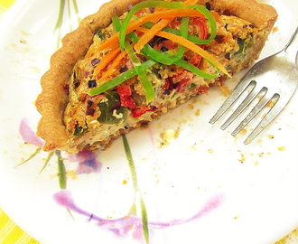 Fresh Lemon Vegetable Quiche (Eggless Quiche) Vegan Quiche