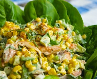 Smoked mackerel, avocado and sweetcorn salad