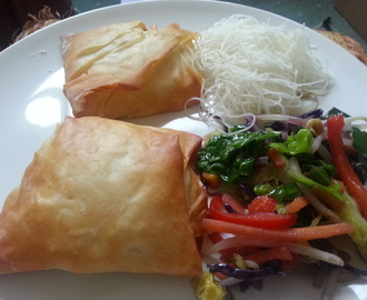 Crab, spinach and Cheshire cheese filo parcels