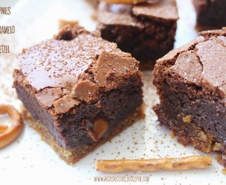 Brownies com caramelo e pretzel | Brownies with caramel and pretzel