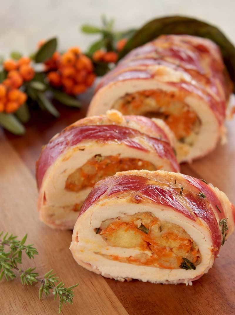 Christmas Turkey Roulade with Pumpkin & Cranberry Stuffing Recipe