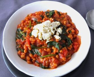 Pearl Barley Risotto with Tomatoes, Spinach and Feta