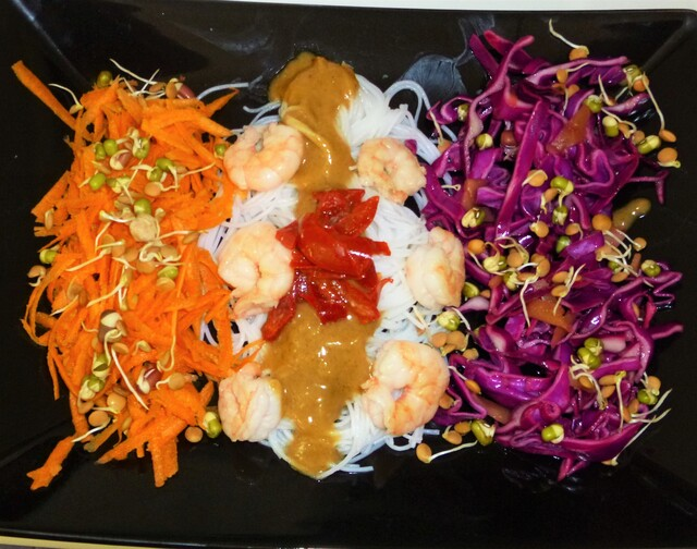 Prawn Noodle and Vegetable Salad with an Asian Peanut Dressing Recipe