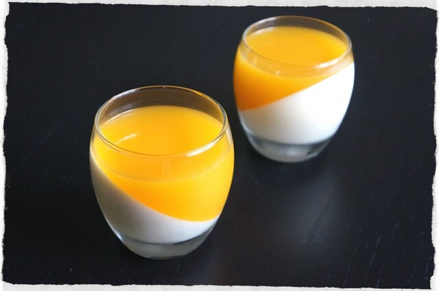 white chocolate panna cotta with mango coulis