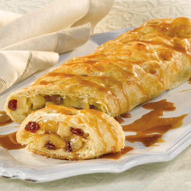 Pear and Cranberry Strudel with Caramel Sauce