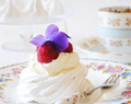 Mering Nests With Raspberries And Edible Flowers (GF)
