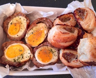 Homemade scotch eggs & sausage rolls