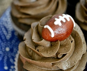 Chocolate Peanut Butter Cupcakes with Marzipan White Chocolate Footballs
