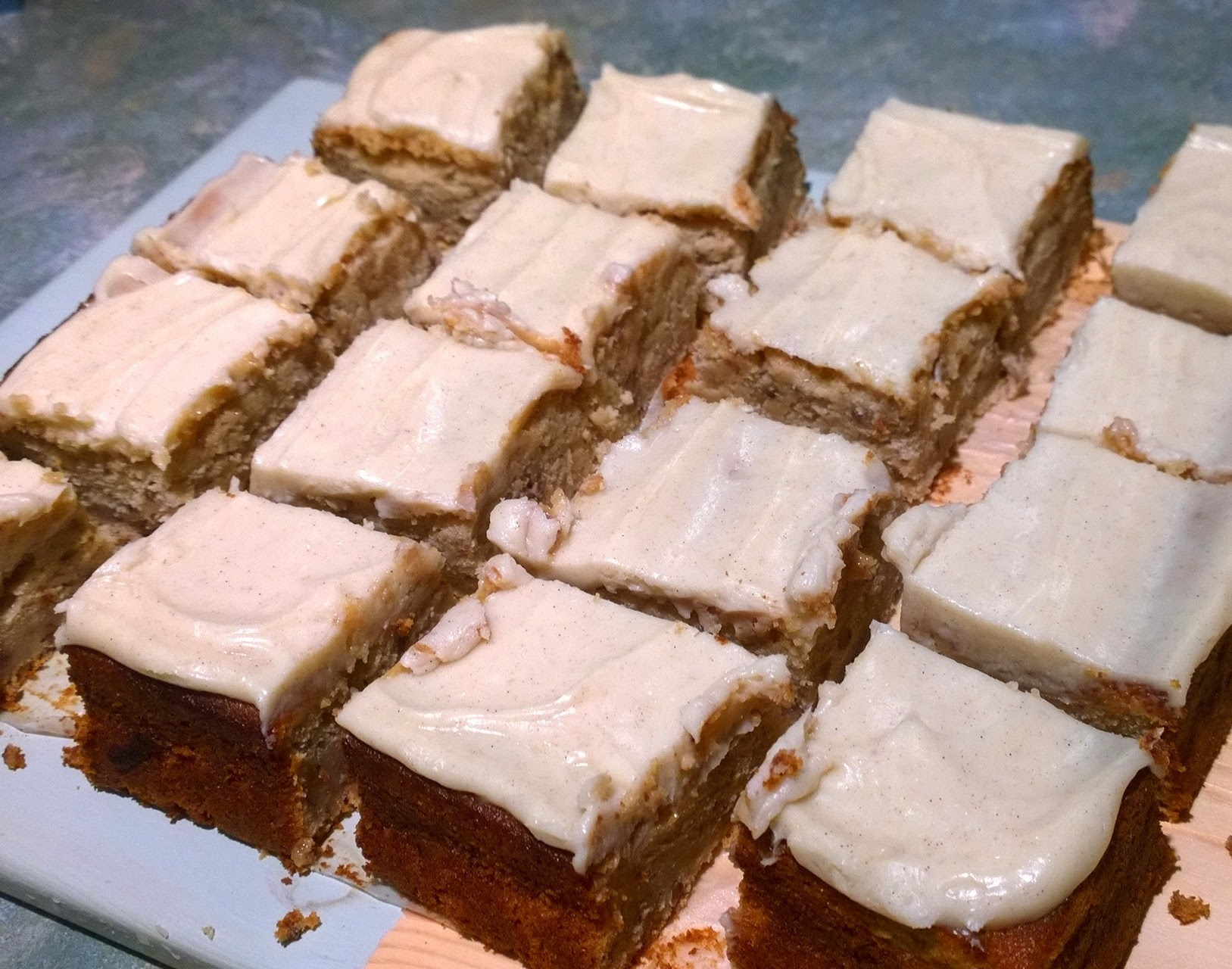 Applesauce cake with cinnamon cream cheese icing