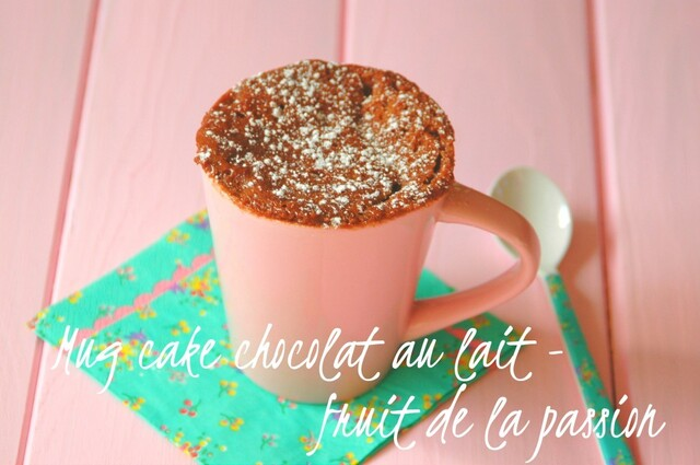 Mug cake chocolat au lait – fruit de la passion