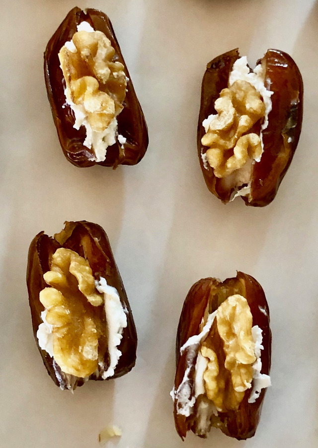 dates filled with goat cheese and walnuts
