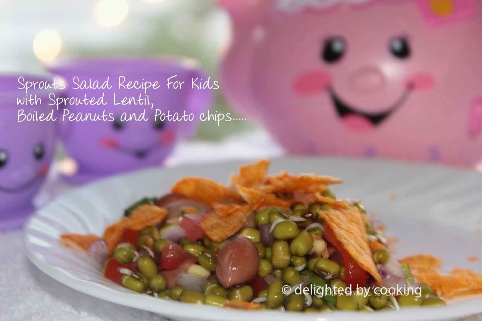 Sprouts Salad Recipe for Kids with Sprouted Lentil