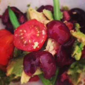 Summer Salad Recipe: Cherries, Cherry Tomatoes, Avocado and Green Beans
