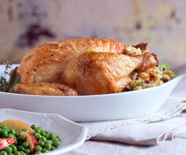 Roast Chicken with Raisin Corn Bread Stuffing