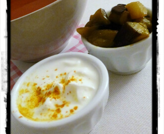 Zuppa di Pomodoro con Yogurt e Melanzane (Tomato Soup with Aubergine and Yogurt)