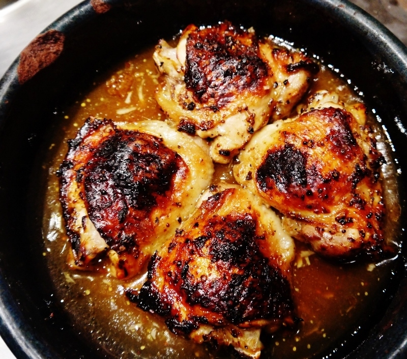 Honey and Mustard Roasted Chicken Thighs