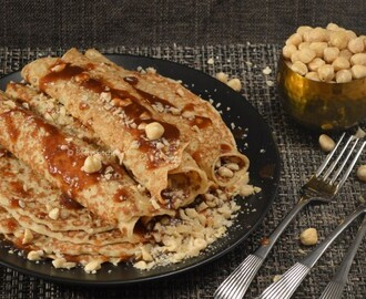 Dutch Pancakes with nuts and caramel sauce