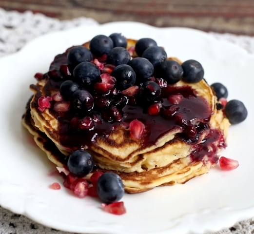 American Pancakes with Pomegranate and Blueberries