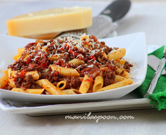 Penne with Beef and Roasted Pepper Tomato Sauce