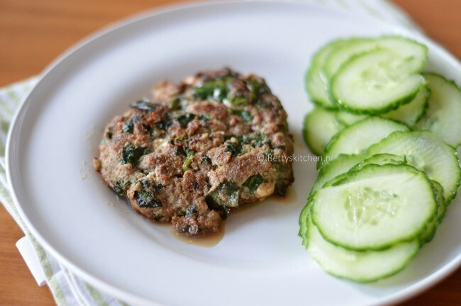Hamburgers with feta cheese and spinach