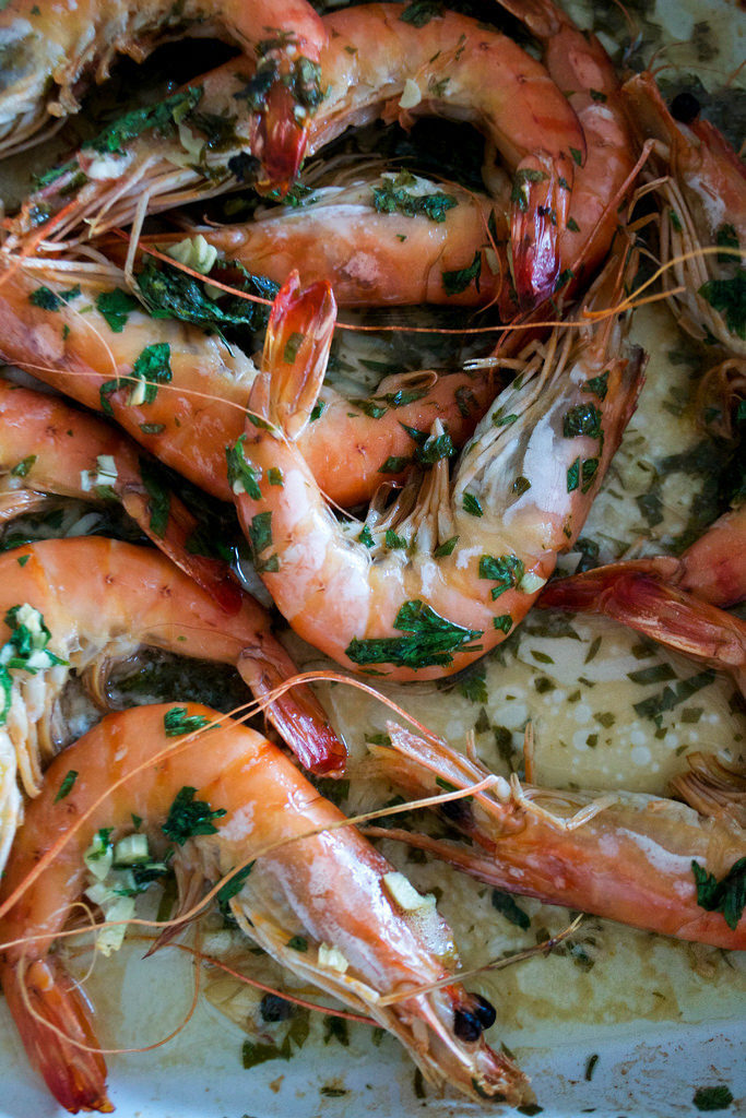 Roasted Prawns with Smoked Garlic, Parsley and Lime