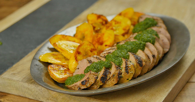 Grilled Cuban Mojo Marinated Pork Tenderloin with Fried Plantains