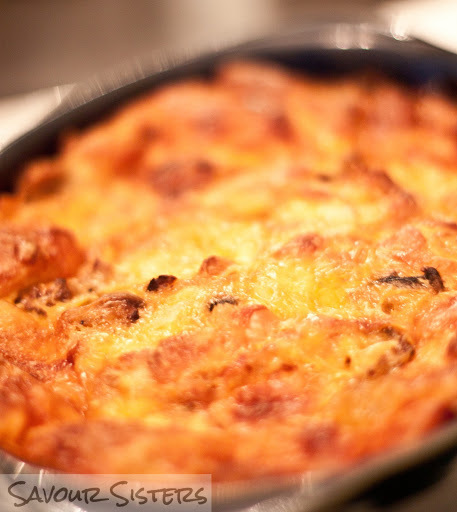 Breakfast Strata with Sausage and Cheddar