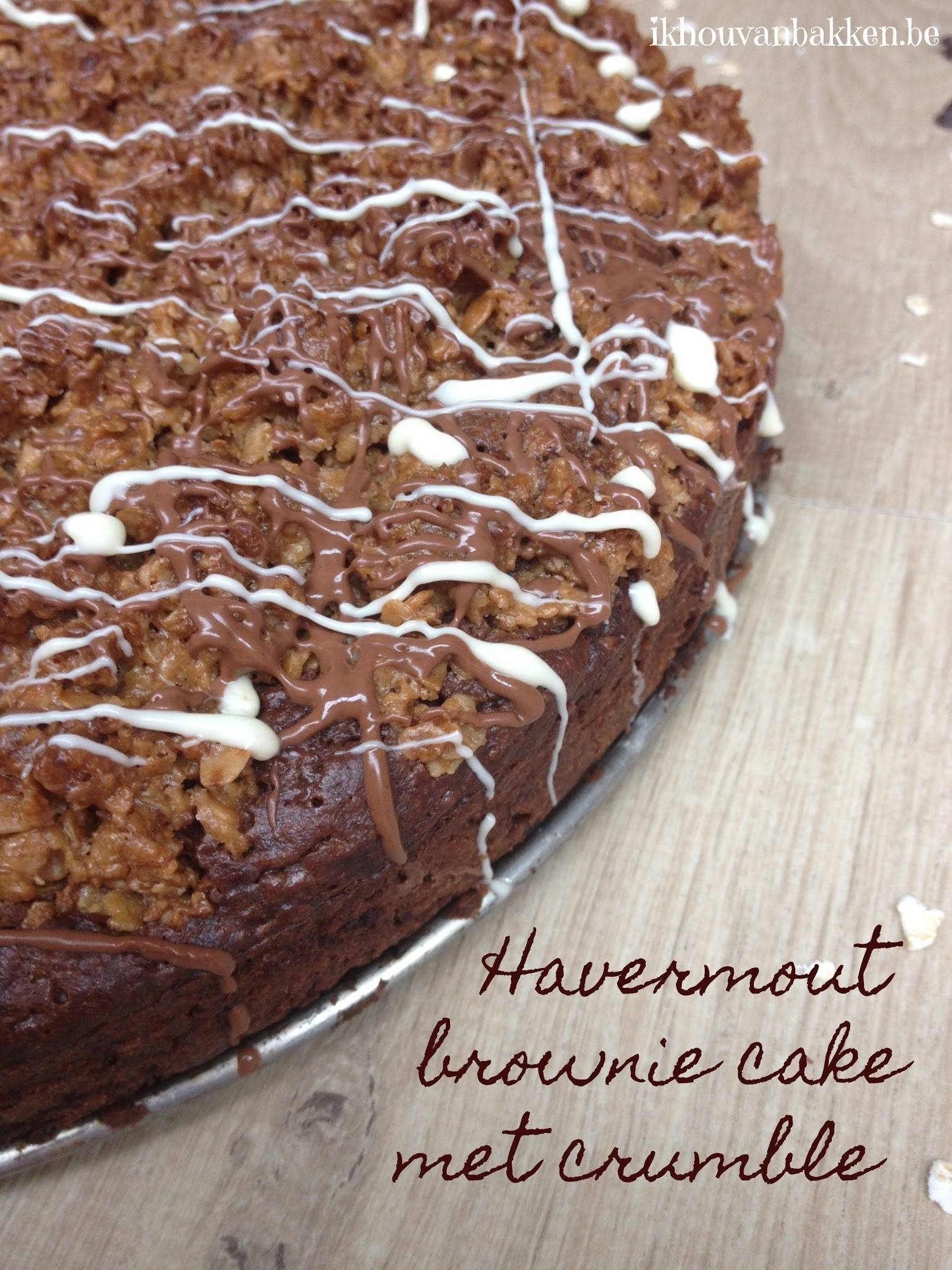 Havermout brownie cake met crumble