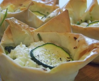 courgette, spinach and feta filo tarts.