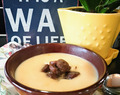 Celeriac Cream Soup with Sausage.