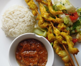 Chicken satay with peanut sauce and coconut rice
