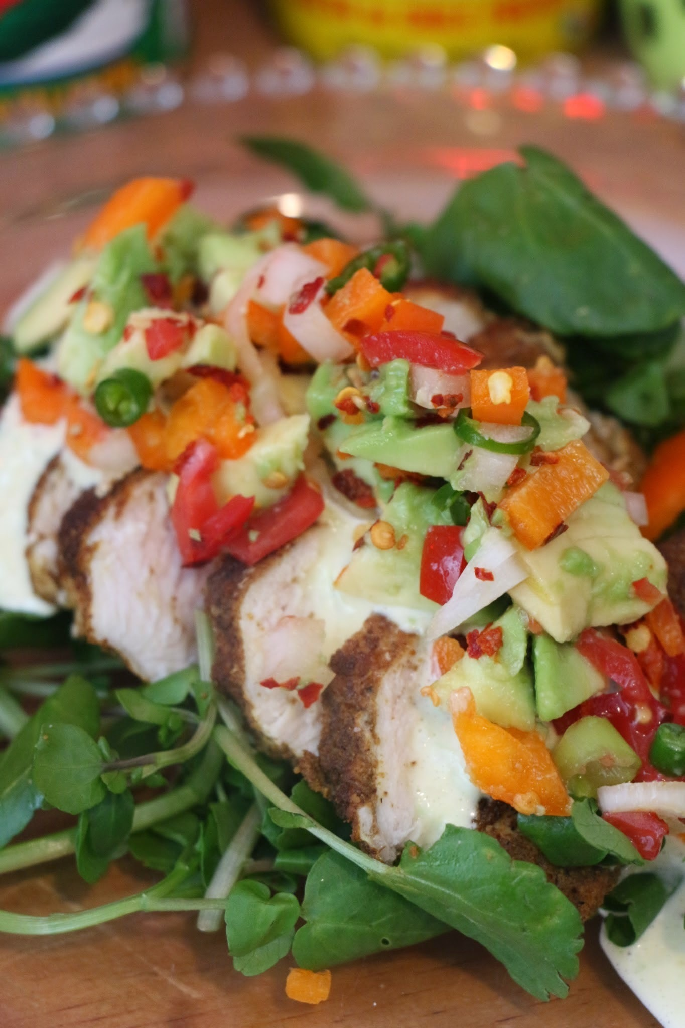 PALEO CURRY SPICED CHICKEN WITH CREAMY CUECUMBER MAYO DRESSING AND AVOCADO CHILLI LIME SALSA