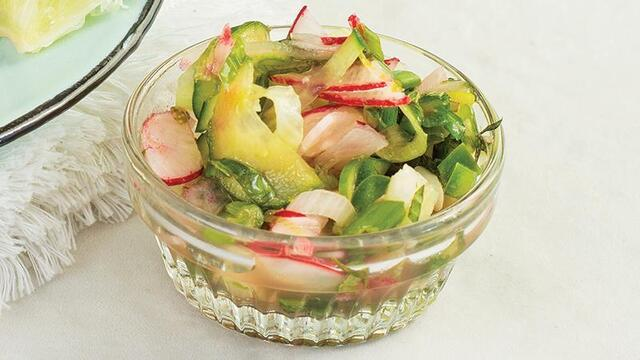 Radish, Cucumber,  and Mint Pico de Gallo