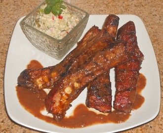 Tamarind Bourbon BBQ Spare Ribs with Cilantro Potato Salad