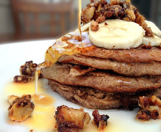 Banana Protein Pancakes with Maple Caramelized Nuts (Vegan, Gluten Free, Soy Free, Sugar Free)