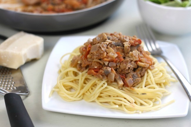 Mushroom and walnut bolognese