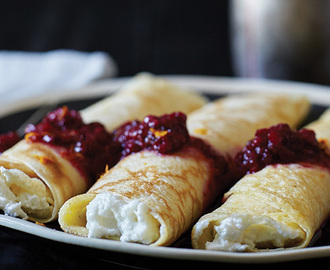 Crêpes with Blackberry Sauce and Orange-Scented Ricotta