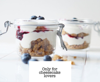 Recept blueberry cheesecake in a jar