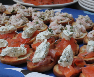 Two types of crostini to start a dinner party