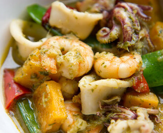 Thai Green Curry with Prawn, Squid, and Butternut Squash