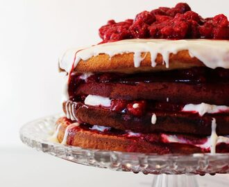 Gâteau d'anniversaire framboises, chocolat blanc, chantilly {Naked Layer Cake}